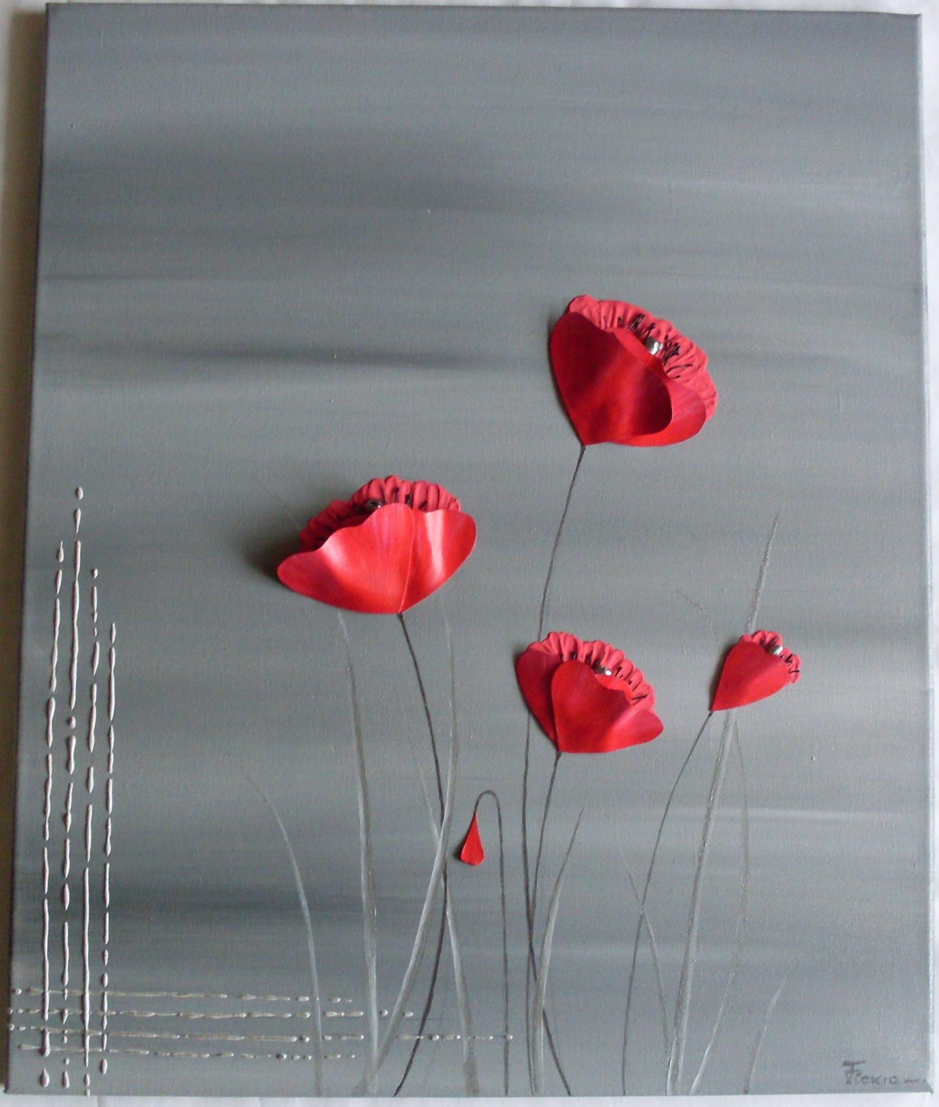 Peinture relief paxia fran oise peintures florales for Tableau de coquelicot en peinture